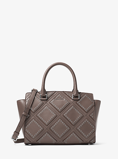 Selma Medium Diamond Grommet Leather Satchel by Michael Kors