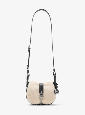 Jamie Medium Suede and Shearling Saddlebag by Michael Kors