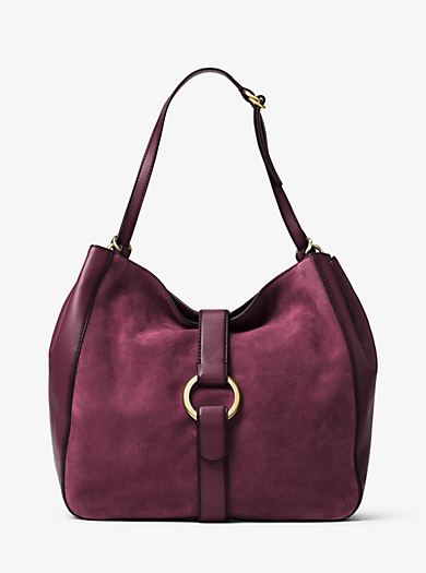 Quincy Large Suede and Leather Shoulder Bag by Michael Kors