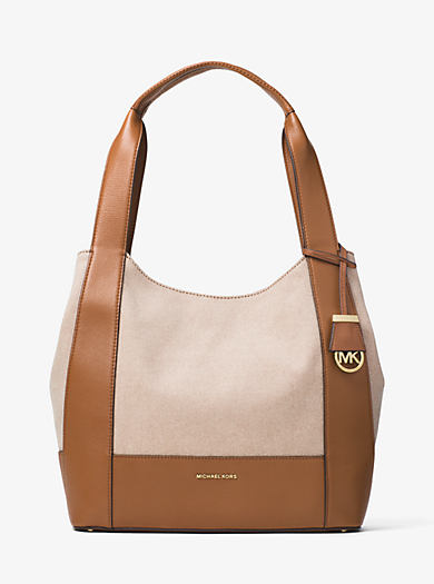 Marlon Large Canvas and Leather Shoulder Tote by Michael Kors