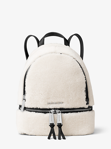 Rhea Small Shearling and Leather Backpack  by Michael Kors
