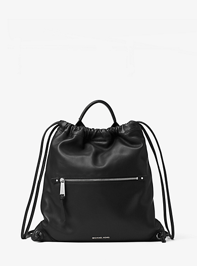 Rhea Medium Leather Drawstring Backpack by Michael Kors