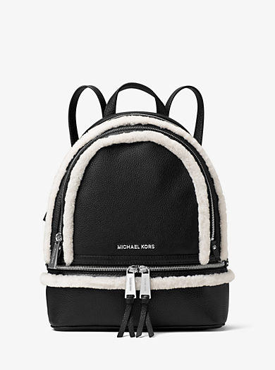 Rhea Medium Leather and Shearling Backpack by Michael Kors