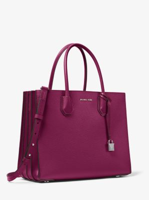 마이클 마이클 코어스 Michael Michael Kors Mercer Large Pebbled Leather Accordion Tote Bag,GARNET