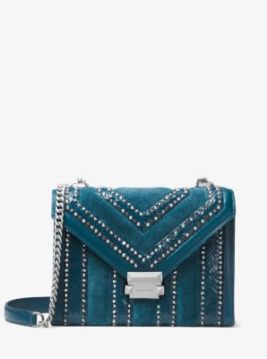 마이클 마이클 코어스 Michael Michael Kors Whitney Large Mixed-Media Convertible Shoulder Bag,TEAL