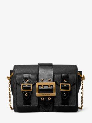 마이클 마이클 코어스 Michael Michael Kors Hayden Medium Saffiano Leather Messenger Bag,BLACK