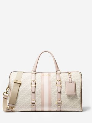 마이클 마이클 코어스 베드포드 위캔더백 로고 라지 Michael Michael Kors Bedford Travel Extra-Large Logo Stripe Weekender Bag,VANILLA/SOFT PINK