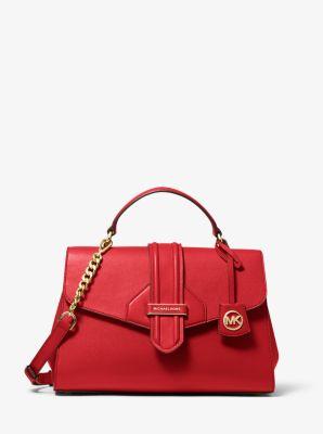 마이클 마이클 코어스 Michael Michael Kors Bleecker Medium Crossgrain Leather Satchel,BRIGHT RED