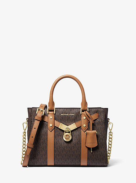 Petit sac porté main Nouveau Hamilton en cuir à logo - MARRON - Michael Kors