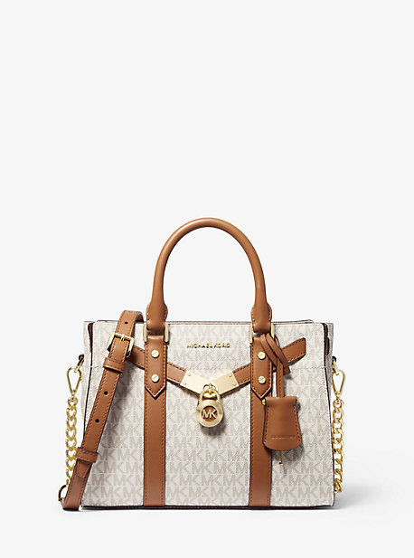 Petit sac porté main Nouveau Hamilton en cuir à logo - VANILLE/NOISETTE(NATUREL) - Michael Kors
