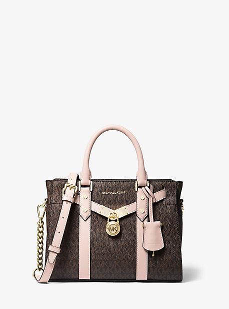 Petit sac porté main Nouveau Hamilton en cuir à logo - BRUN/ROSE DOUX(MARRON) - Michael Kors
