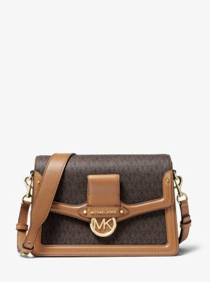 마이클 마이클 코어스 Michael Michael Kors Jessie Medium Logo and Leather Shoulder Bag,BRN/ACORN