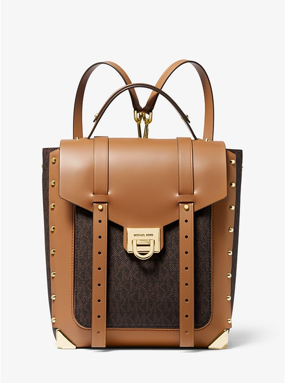 Manhattan Medium Logo and Leather Backpack | Michael Kors