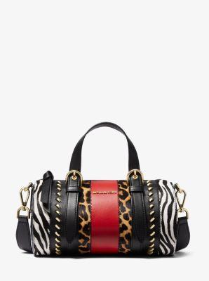 마이클 마이클 코어스 더플백 Michael Michael Kors Stanton Medium Animal-Print Calf Hair and Leather Barrel Bag,BLACK COMBO