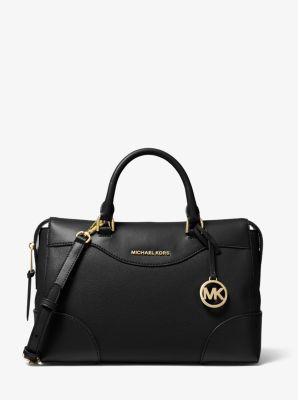 마이클 마이클 코어스 Michael Michael Kors Maya Large Pebbled Leather Satchel,BLACK