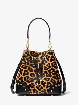 마이클 마이클 코어스 레오파드 머서 갤러리백 스몰 (도연 착용) Michael Michael Kors Mercer Gallery Small Leopard Calf Hair Shoulder Bag,BUTTERSCOTCH