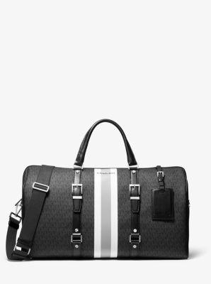 마이클 마이클 코어스 여행용 가방 Michael Michael Kors Bedford Travel Extra-Large Logo Stripe Weekender Bag,BLACK