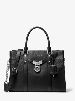 마이클 마이클 코어스 누보 해밀턴백 라지 Michael Michael Kors Nouveau Hamilton Large Pebbled Leather Satchel,BLACK