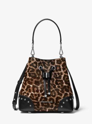 마이클 마이클 코어스 Michael Michael Kors Mercer Gallery Small Leopard Calf Hair Shoulder Bag,GUNMETAL
