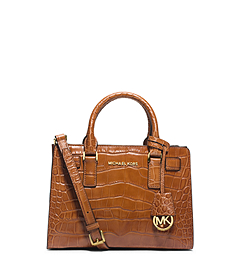 Dillon Small Crocodile Pattern-Embossed Leather Satchel