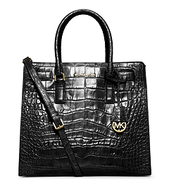 Dillon Large Crocodile Pattern-Embossed Leather Tote