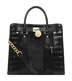 Hamilton Large Hair Calf and Embossed-Leather Tote