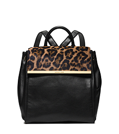Lana Leopard-Print Hair Calf and Leather Backpack