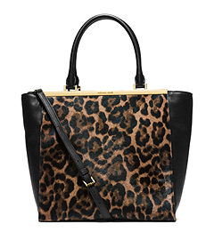 Lana Leopard-Print Hair Calf and Leather Tote