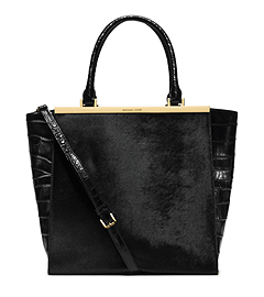 Lana Hair Calf and Embossed-Leather Tote