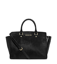 Selma Large Hair Calf Satchel
