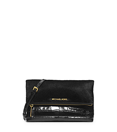 Jet Set Travel Hair Calf and Embossed-Leather Clutch