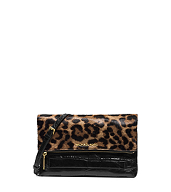 Jet Set Travel Leopard-Print Hair Calf Clutch