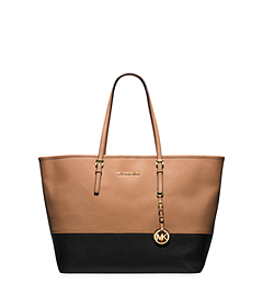 Jet Set Travel Medium Color-Block Saffiano Leather Tote