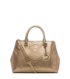 Sutton Medium Python Pattern-Embossed Leather Satchel