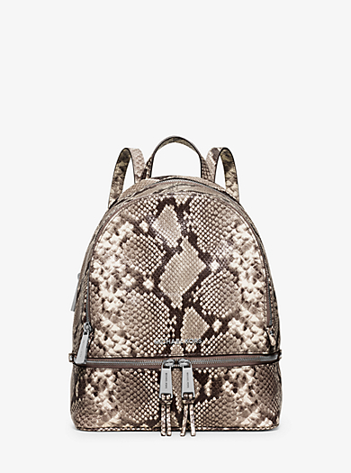 Rhea Small Embossed-Leather Backpack by Michael Kors