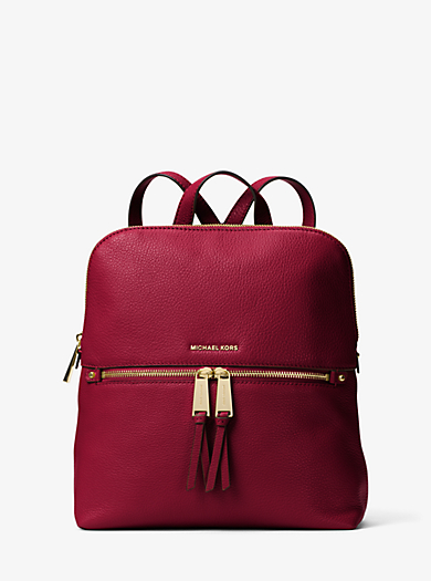 Rhea Medium Slim Leather Backpack by Michael Kors