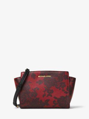 Selma Medium Lace-Print Leather Messenger by Michael Kors