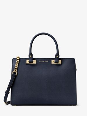 Quinn Large Saffiano Leather Satchel by Michael Kors