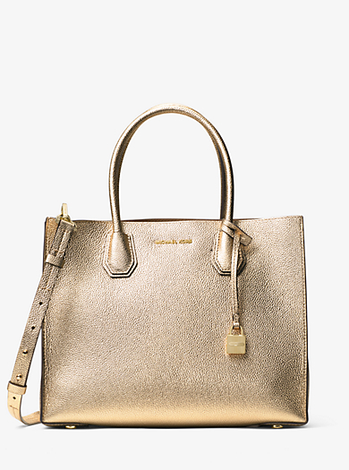 Borsa tote Mercer grande in pelle effetto metallizzato by Michael Kors