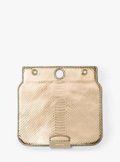 Sloan Select Mix and Match Medium Metallic Snakeskin Flap by Michael Kors