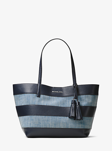 Large Canvas and Leather Tote by Michael Kors