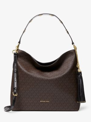 마이클 마이클 코어스 Michael Michael Kors Brooklyn Large Logo Shoulder Bag,BROWN/BLK