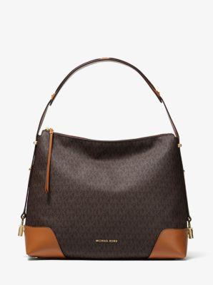 마이클 마이클 코어스 Michael Michael Kors Crosby Large Logo Shoulder Bag,BRN/ACORN