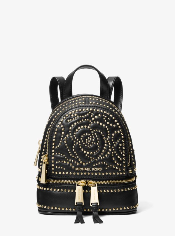 Michael Kors - Rhea Mini Rose Studded Leather Backpack - 1