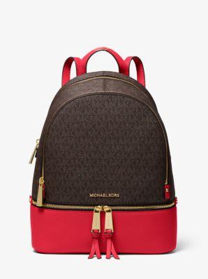마이클 마이클 코어스 Michael Michael Kors Rhea Medium Logo and Pebbled Leather Backpack