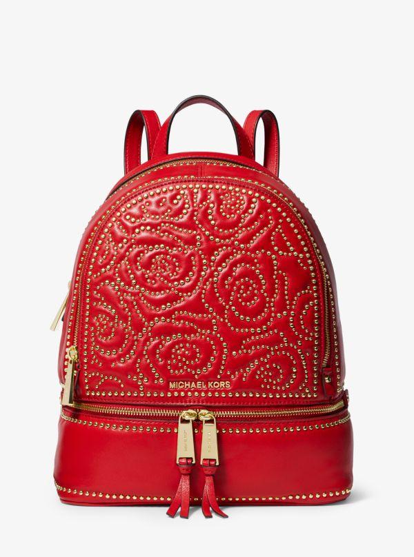 Michael Kors - Rhea Medium Rose Studded Leather Backpack - 1