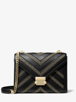 마이클 마이클 코어스 Michael Michael Kors Whitney Large Studded Leather Convertible Shoulder Bag,BLACK