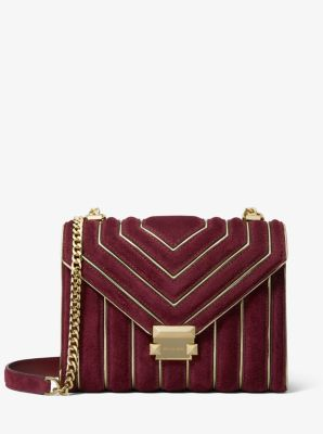 마이클 마이클 코어스 Michael Michael Kors Whitney Large Quilted Suede Convertible Shoulder Bag,OXBLOOD