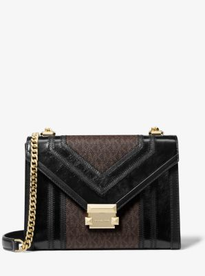 마이클 마이클 코어스 Michael Michael Kors Whitney Large Logo Convertible Shoulder Bag,BROWN/BLK