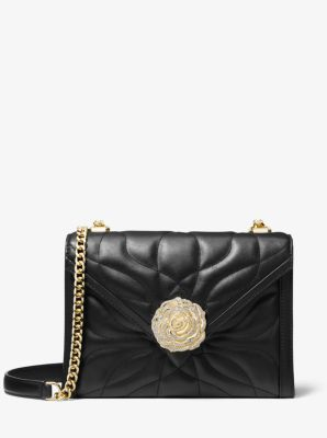 마이클 마이클 코어스 Michael Michael Kors Whitney Large Petal Quilted Leather Convertible Shoulder Bag,BLACK